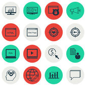 Set Of 16 Universal Editable Icons For Marketing Advertising And SEO Topics Includes Icons Such As Report Security Conference And More