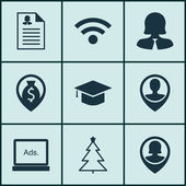 Set Of 9 Universal Editable Icons Can Be Used For Web Mobile And App Design Includes Icons Such As Pin Employee Graduation Wireless And More