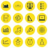 Sada 16 univerzální upravitelné ikon. Lze použít pro webové, mobilní a návrhu aplikací. Obsahuje ikony měření, sekvence grafiky, zimní a další