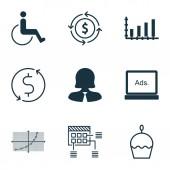 """Постер, картина, фотообои """"Набор 9 универсальных редактируемых икон. Может использоваться для Интернета, мобильных и дизайн приложения. Включает в себя значки, такие как деньги эмитированной, деловая женщина, цифровых средств массовой информации и многое другое."""""""