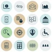 Sada 16 univerzální upravitelné ikon. Lze použít pro webové, mobilní a návrhu aplikací. Zahrnuje ikony, jako posloupnost grafiky, rekreačních ornamentem, finanční a další