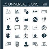 Sada 25 univerzální upravitelné ikon. Lze použít pro webové, mobilní a návrhu aplikací. Zahrnuje prvky posloupnosti grafiky, konference, jídlo Pizza a další