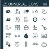 Sada 25 univerzální upravitelné ikon. Lze použít pro webové, mobilní a návrhu aplikací. Zahrnuje prvky jako je ranč doma, distribuovaných výsečový graf, ověřování a další