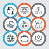 Set Of 9 Business Management Icons Includes Collaborative Solution Email Cooperation And Other Symbols Beautiful Design Elements
