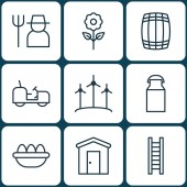 Set Of 9 Farm Icons Includes Grower Farmhouse Jug And Other Symbols Beautiful Design Elements