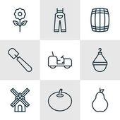 Set Of 9 Farm Icons Includes Hanger Cask Decorative Plant And Other Symbols Beautiful Design Elements