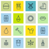 Set Of 16 Farm Icons Includes Grains Ovum Bailer And Other Symbols Beautiful Design Elements
