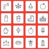 Set Of 16 Gardening Icons Includes Jug Decorative Plant Autumn Plant And Other Symbols Beautiful Design Elements