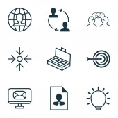 Set Of 9 Business Management Icons Includes Great Glimpse Global Work Cooperation And Other Symbols Beautiful Design Elements