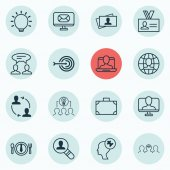 Set Of 16 Business Management Icons Includes Email Dialogue Online Identity And Other Symbols Beautiful Design Elements