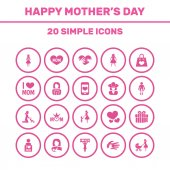 Mothers Day Icon Design Concept Set Of 20 Such Elements As Heart Gift And Cellphone Beautiful Symbols For Mom Text And Loving