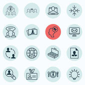 Set Of 16 Business Management Icons Includes Business Aim Human Mind Social Profile And Other Symbols Beautiful Design Elements