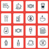 Set Of 16 Meal Icons Includes Cutlery Lolly Coffee Cup And Other Symbols Beautiful Design Elements