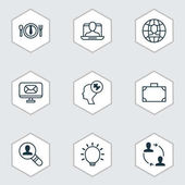 Set Of 9 Business Management Icons Includes Global Work Human Mind Social Profile And Other Symbols Beautiful Design Elements