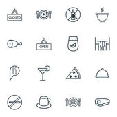 Set Of 16 Cafe Icons Includes Dining Room Stop Smoke Steak And Other Symbols Beautiful Design Elements