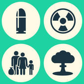 Army Icons Set Collection Of Slug Atom Dangerous And Other Elements Also Includes Symbols Such As Bullet Nuclear Atom