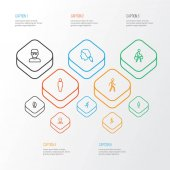 People Outline Icons Set Collection Of Head Man Worker And Other Elements