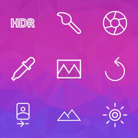 Image icons line style set with camera front, shutter, brush and other effect elements. Isolated vector illustration image icons.