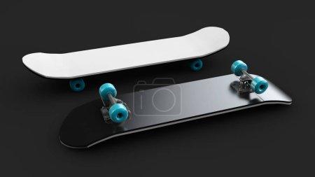 Photo pour Illustration 3D de Skateboard deck noir isolé - image libre de droit