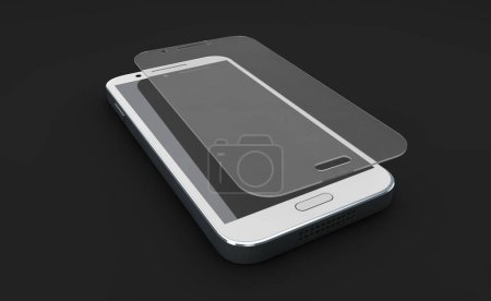 Photo for Screen protect Glass. Mobile accessory. 3d illustration, isolated black - Royalty Free Image