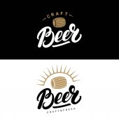Set of beer hand written lettering logos labels badges for beerhouse brewing company pub bar Modern brush calligraphy and design elements Vector illustration