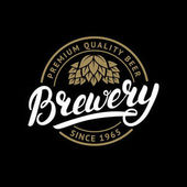 Brewery hand written lettering logo label badge template with hop for beer house bar pub brewing company tavern wine whiskey market Isolated on black background Vector illustration