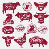 13 butchery logo label emblem poster Farm animals with lettering words