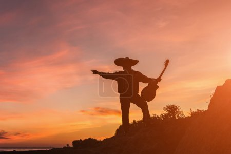 Musician on the coast. Silhouette at sunset.