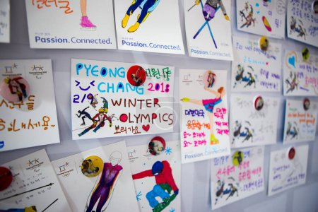 "Cards on the wall in interactive pavilion ""Pyeongchang house"""