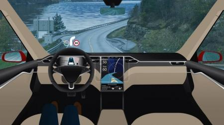 Driverless car on road