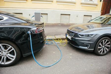 Electric car charging on station