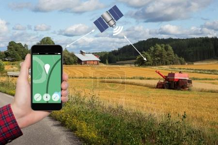 Control of the combine harvester by satellite communication.