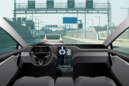 Self driving car on a road.