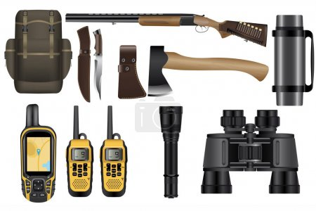 A set of realistic hunting equipment kit isolated on white