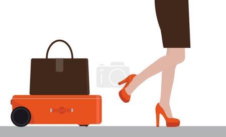 Autonomous robot suitcase follows the woman