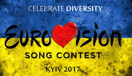 Photos banner with the official logo of the Eurovision, Eurovision 2017 in Kiev.Eurovision Song Contest 2017. Belarus,01 March 2017