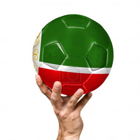soccer ball with the image of the flag of Chechen Republic