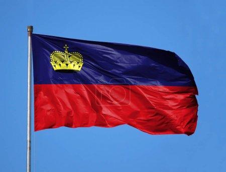 National flag of Liechtenstein on a flagpole