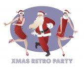 Funny Santa Claus dancing Charleston wiht two flapper girls