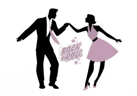 Young couple wearing 50's clothes dancing rock and roll. Vector