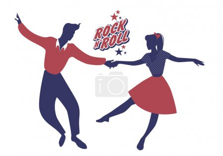Illustration for Young couple wearing 50's clothes dancing rock and roll. Vector Illustration - Royalty Free Image