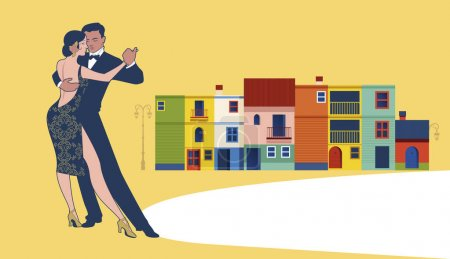 Illustration for Couple dancing tango in Caminito Street. Buenos Aires. Argentina - Royalty Free Image