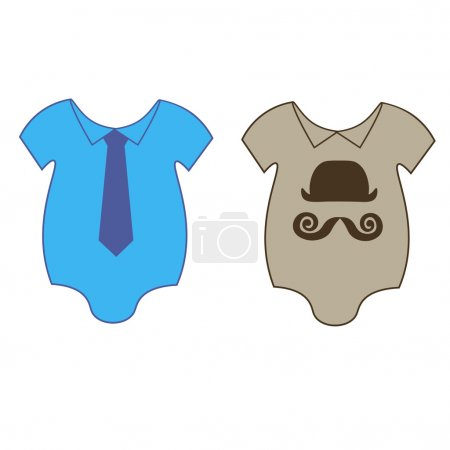 The vector illustration with baby bodies with a tie and hat for boys, twins images. first clothes for newborns
