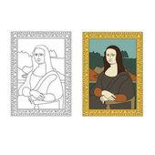 Linear flat illustration of portrait The Mona Lisa by Leonardo da Vinci