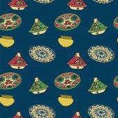 Vector colorful seamless pattern of arabic crockery