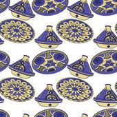 Seamless pattern of blue arabic crockery