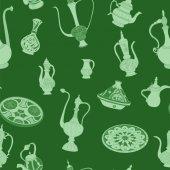 Seamless green pattern of arabic crockery