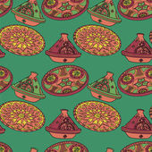 Vector red and green seamless pattern of arabic crockery