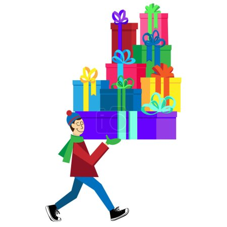 Flat vector Greeting Card illustration isolated with guy buying presents