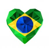 Vector crystal gem jewelry Brazilian heart with the flag of the Brazil